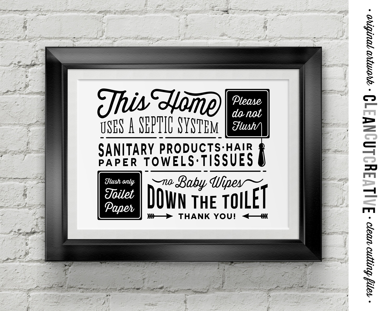Bathroom Sign Septic System Do Not Flush Toilet Sign Pdf | Etsy - Free Printable Do Not Flush Signs