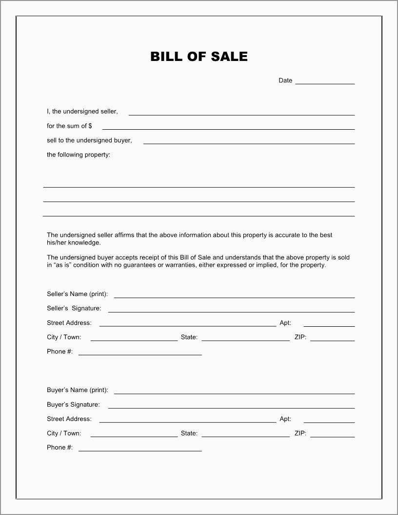 Beautiful Bill Of Sale Free Template Form   Best Of Template - Free Printable Generic Bill Of Sale