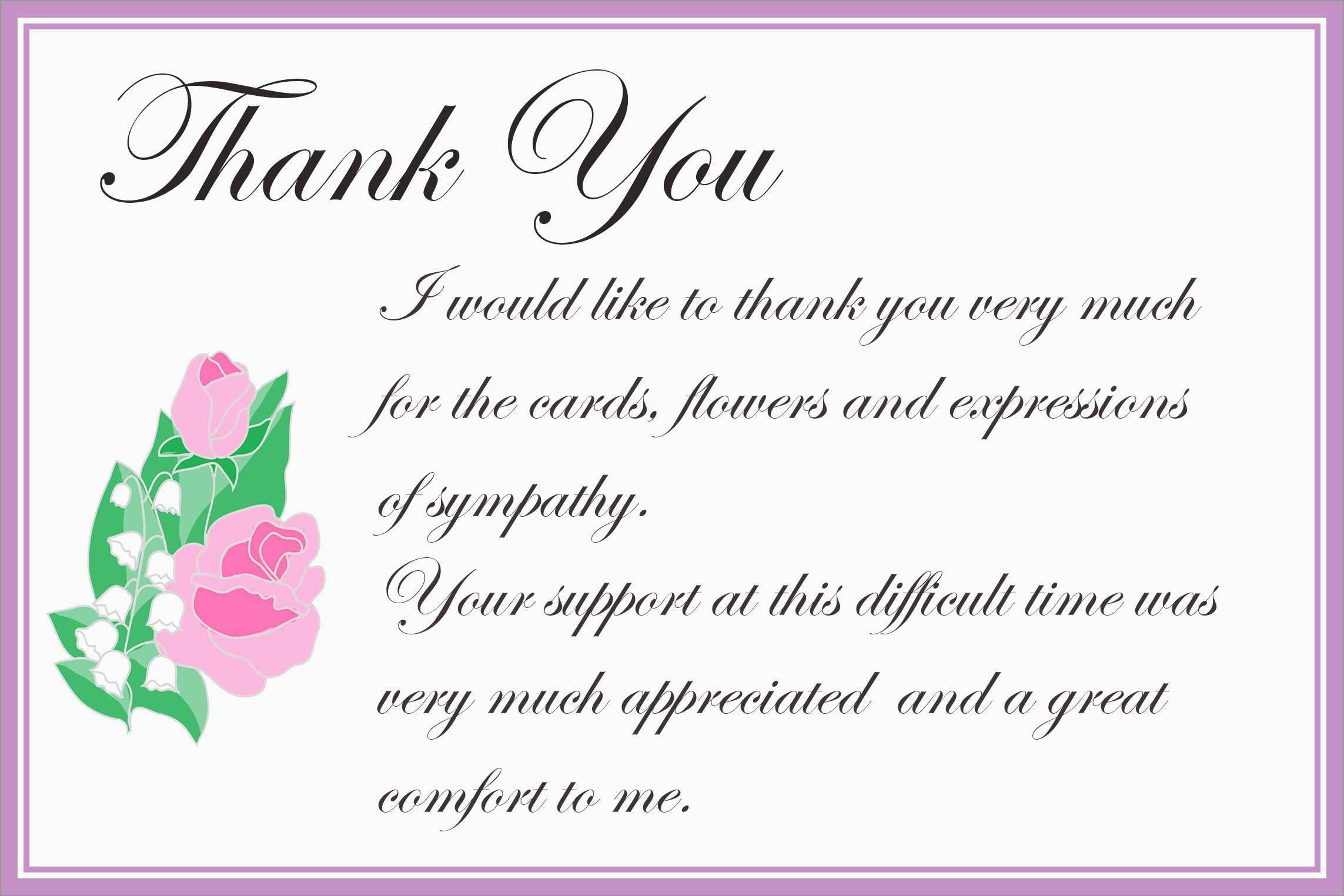 Beautiful Free Funeral Thank You Cards Templates   Best Of Template - Thank You Sympathy Cards Free Printable