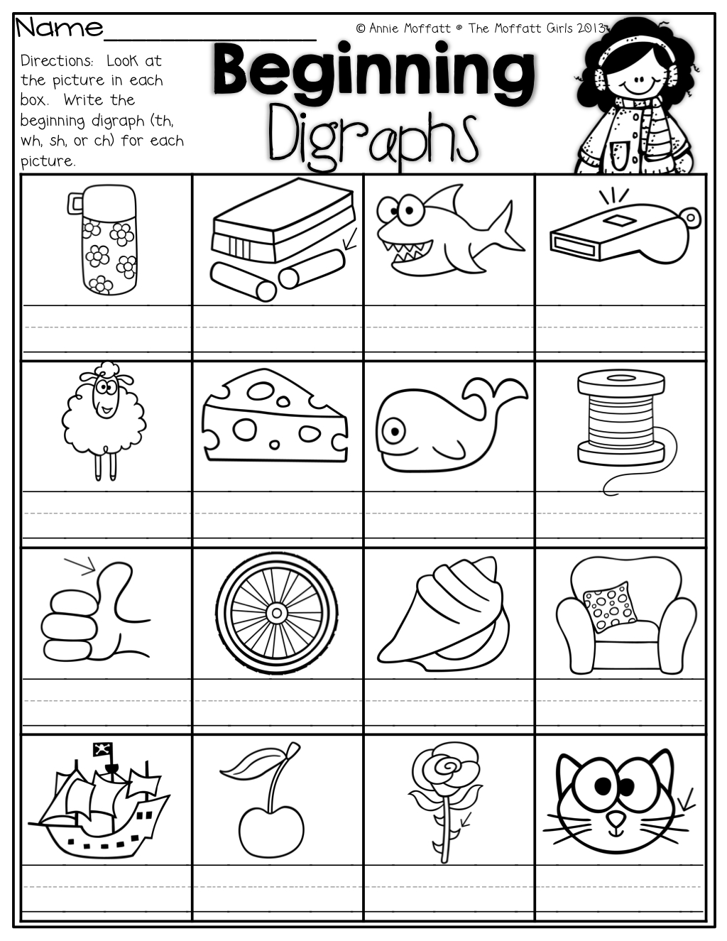 Beginning Digraphs! Write The Beginning Digraphs For Each Picture - Free Printable Ch Digraph Worksheets