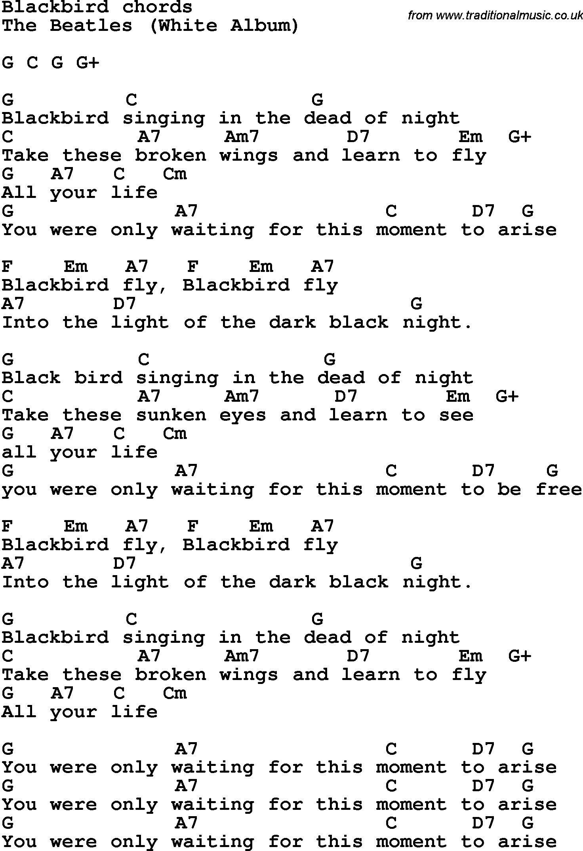Blackbird @diana Goldberg | So Much Love In 2019 | Guitar Chords - Free Printable Song Lyrics With Guitar Chords