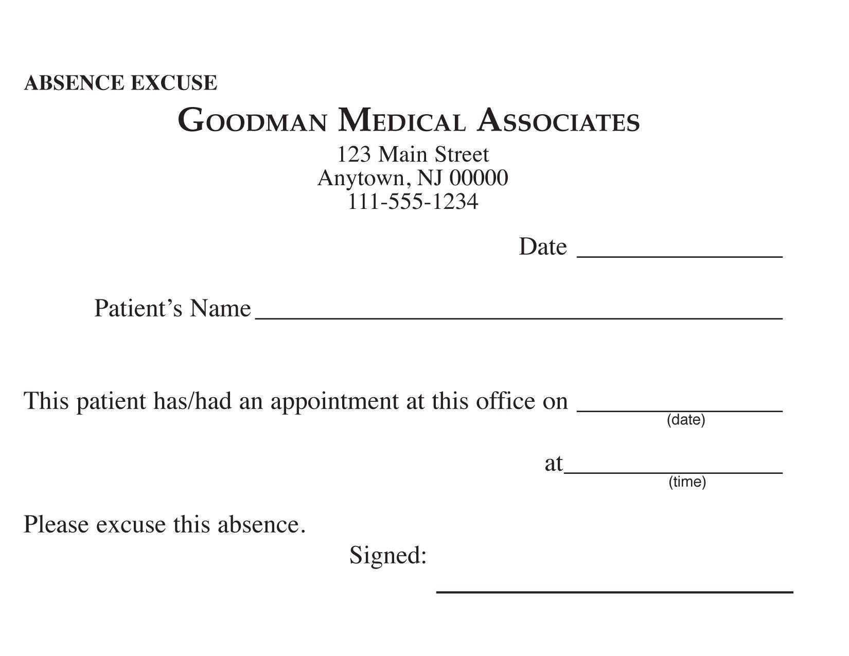 Blank Printable Doctor Excuse Form   Keskes Printing - Mds - Free Printable Doctors Excuse
