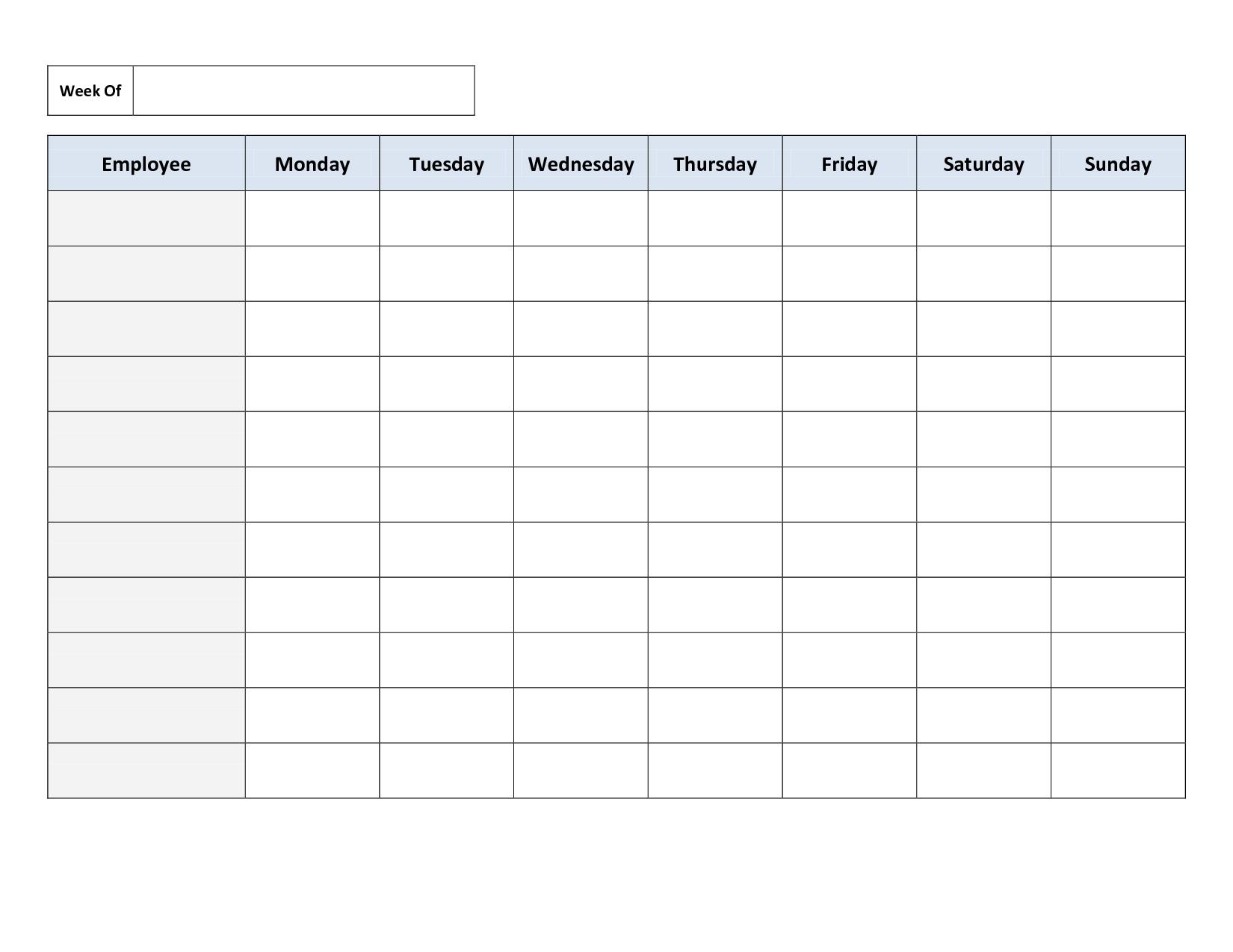 Blank Weekly Work Schedule Template   Schedule   Cleaning Schedule - Free Printable Schedule
