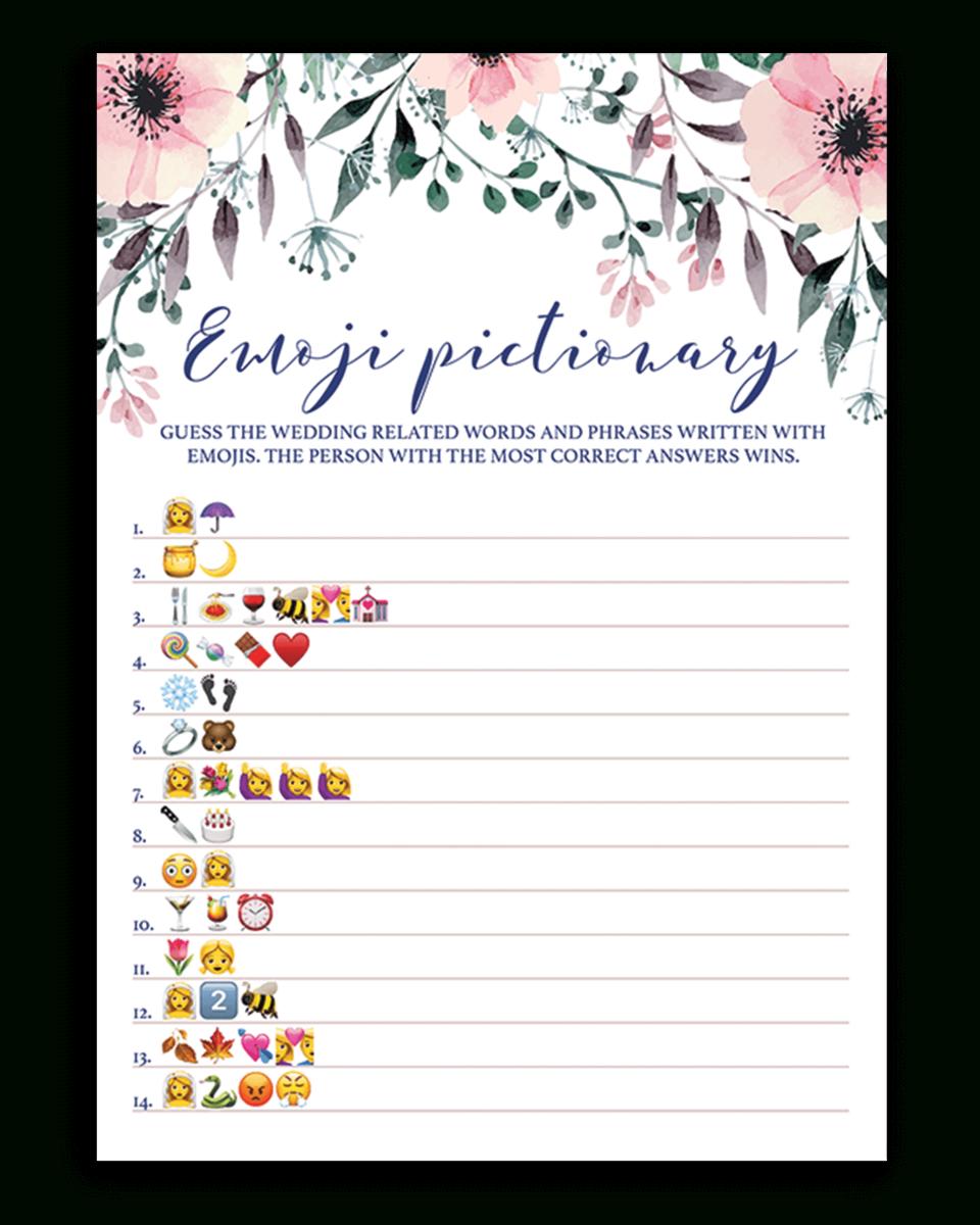 Blush Floral Bridal Shower Emoji Pictionary Game Printable - Spg1 - Wedding Emoji Pictionary Free Printable