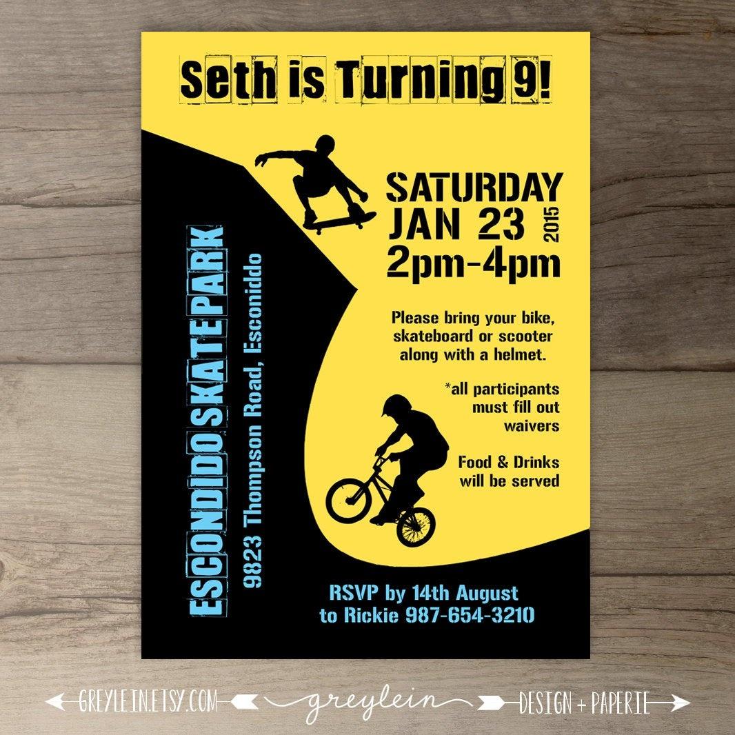 Bmx Party / Skate Park Birthday Party Invitations / Skateboard | Etsy - Free Printable Skateboard Birthday Party Invitations