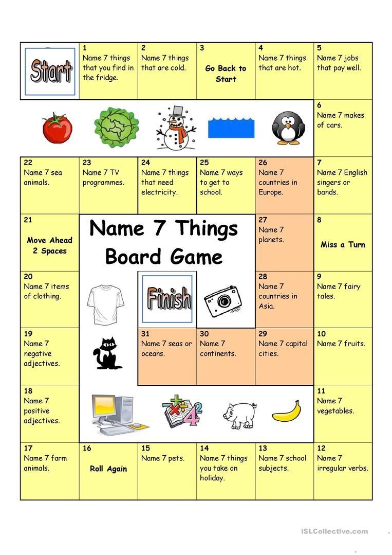 Board Game - Name 3 Things (Hard) Worksheet - Free Esl Printable - Free Printable Board Games