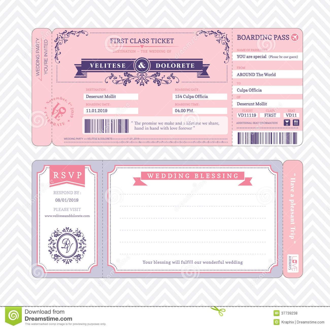Boarding Pass Wedding Invitation Template Stock Vector - Free Printable Boarding Pass