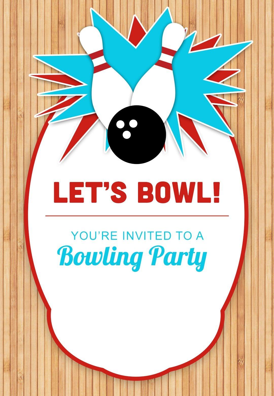 Bowling Party - Free Printable Birthday Invitation Template - Free Printable Bowling Invitation Templates