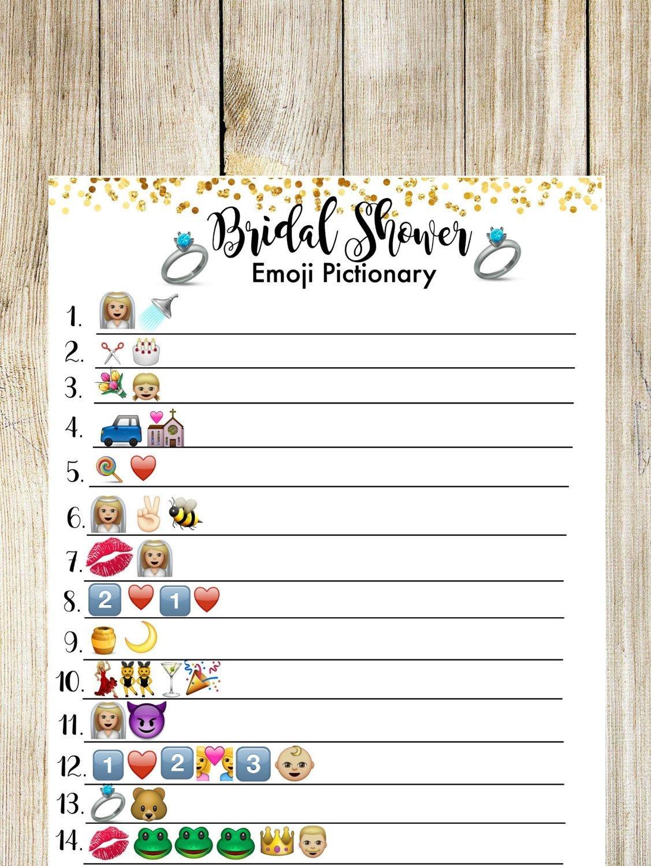 Bridal Shower Pictionary Emoji Game. Bridal Shower Game   Shower - Wedding Emoji Pictionary Free Printable