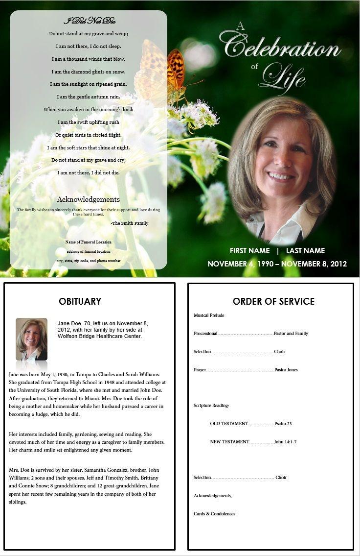 Butterfly Memorial Program   Memorials   Funeral Cards, Memorial - Free Printable Memorial Card Template