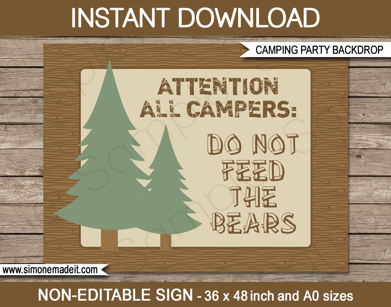 Camping Party Sign Backdrop | Camping Party Decorations - Free Printable Camping Signs