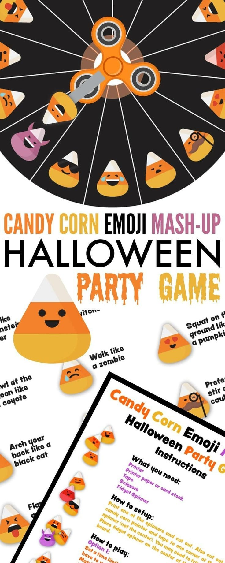Candy Corn Emoji Mash-Up Halloween Party Game | Activities For Boys - Free Printable Halloween Party Games