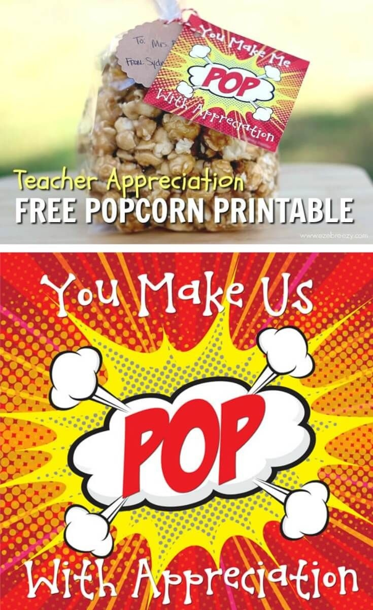 Caramel Popcorn | Recipe | Gift Ideas | Teacher Appreciation Gifts - Free Popcorn Teacher Appreciation Printable