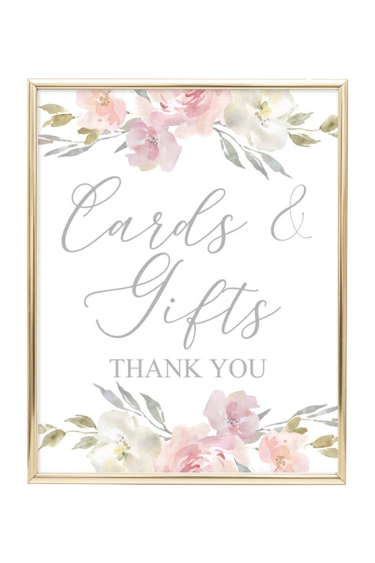 Cards & Gifts Printable Sign (Blush Floral | Wedding Decor Ideas - Cards Sign Free Printable