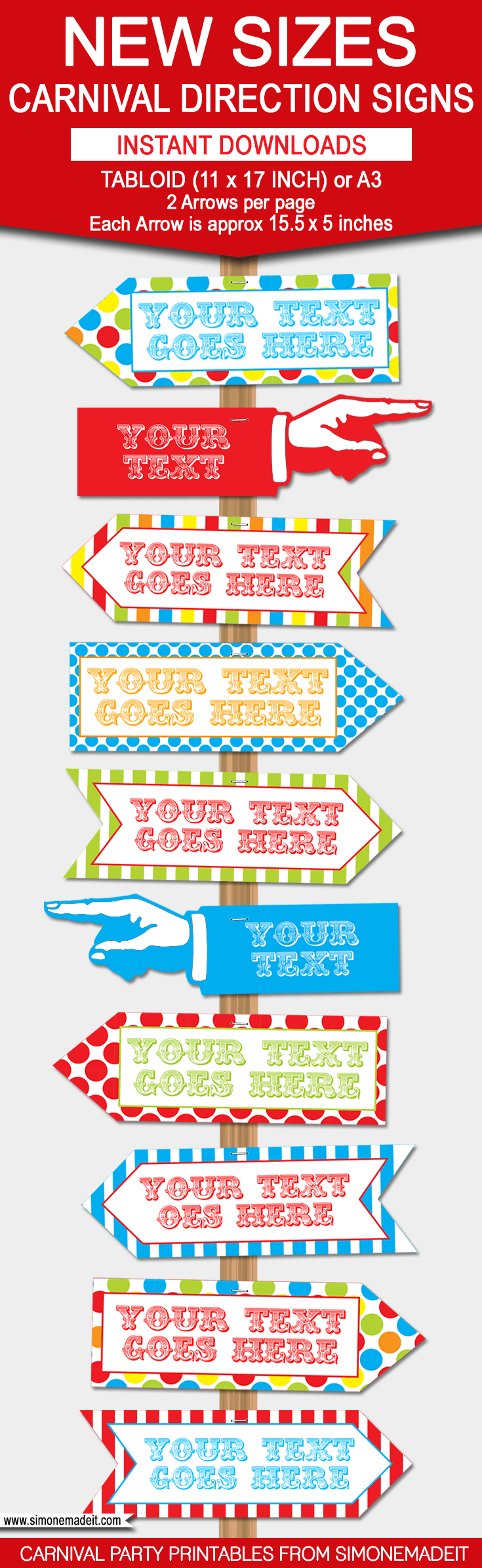 Carnival Directional Sign Templates – New Sizes!   Circus/carnival - Free Printable Carnival Decorations