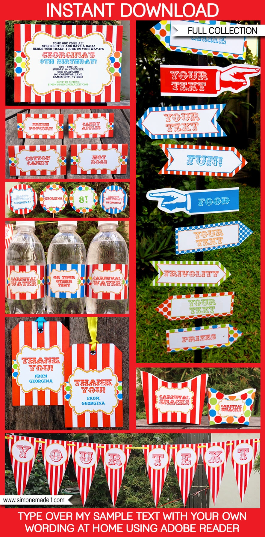 Carnival Party Printables   Circus Party Printables - Free Printable Carnival Decorations