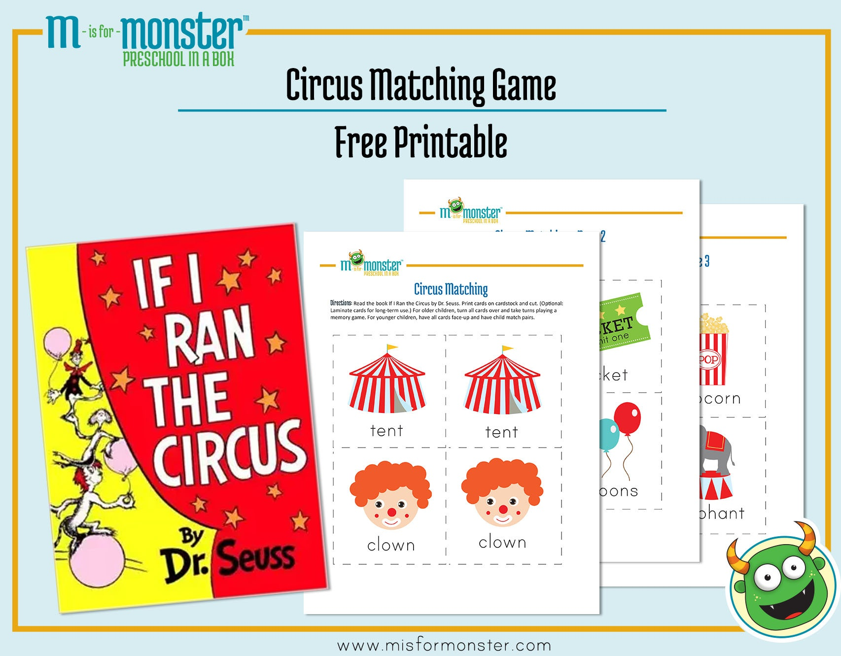 Carnival Week Free Printable   M Is For Monster - Free Printable Toddler Matching Games
