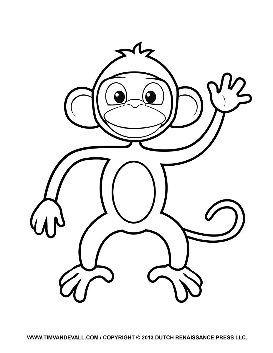 Cartoon Monkey Coloring Pages For Kids - Enjoy Coloring   Animals - Free Printable Monkey Coloring Sheets