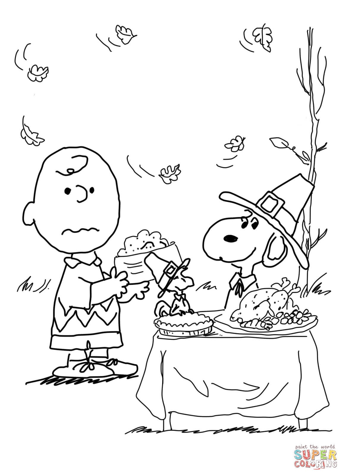 Charlie Brown Thanksgiving Coloring Page   Free Printable Coloring Pages - Free Printable Charlie Brown Halloween Coloring Pages