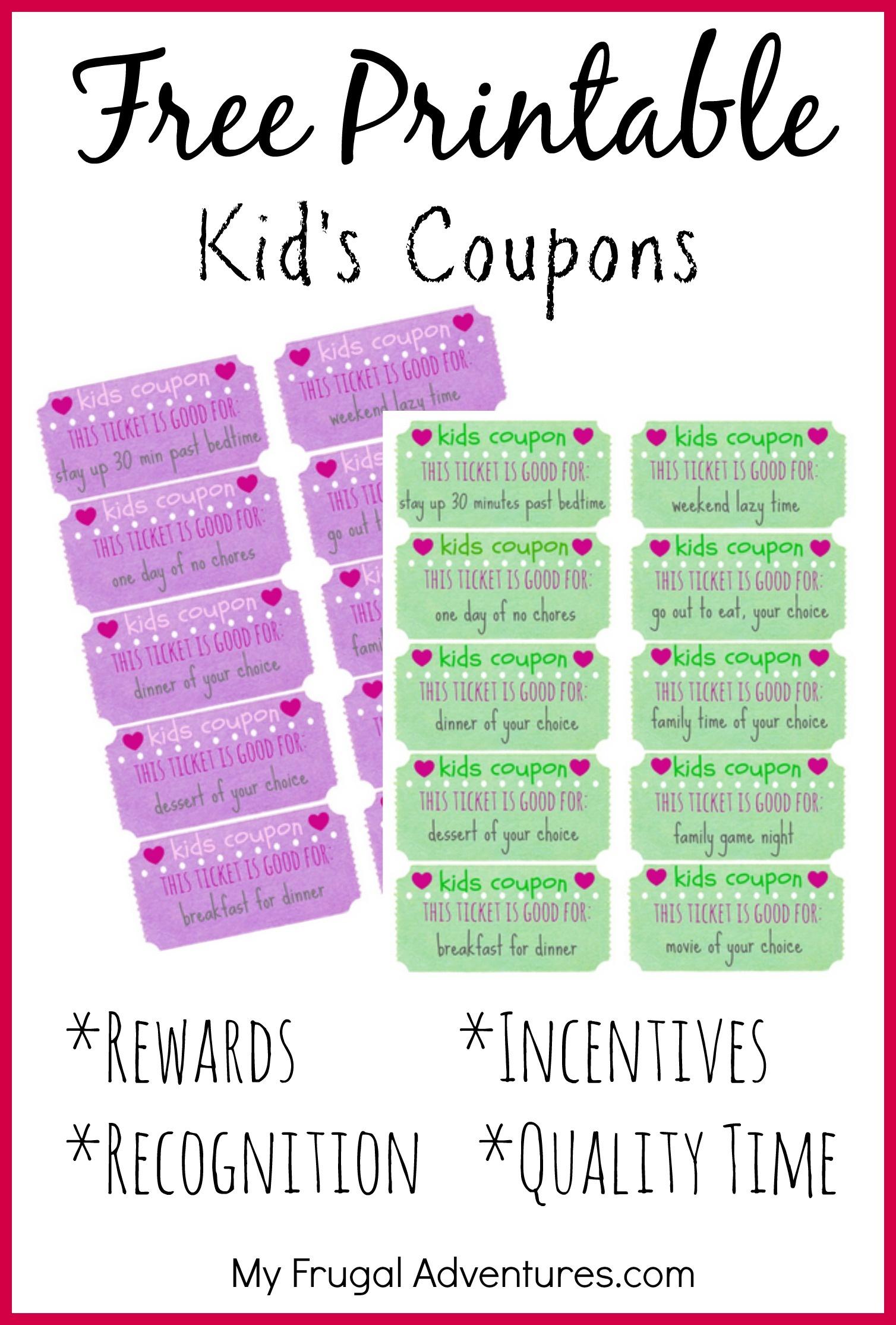 Children's Gift Idea: Free Printable Reward Tickets - My Frugal - Free Printable Tickets
