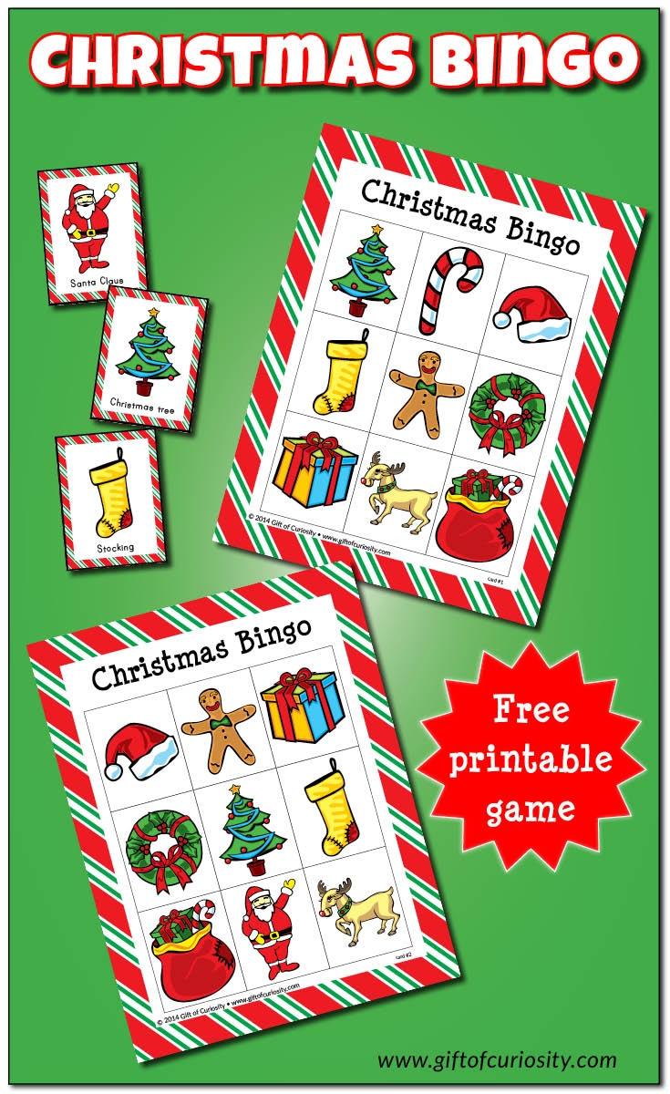 Christmas Bingo Game {Free Printable} - Gift Of Curiosity - Free Christmas Bingo Game Printable