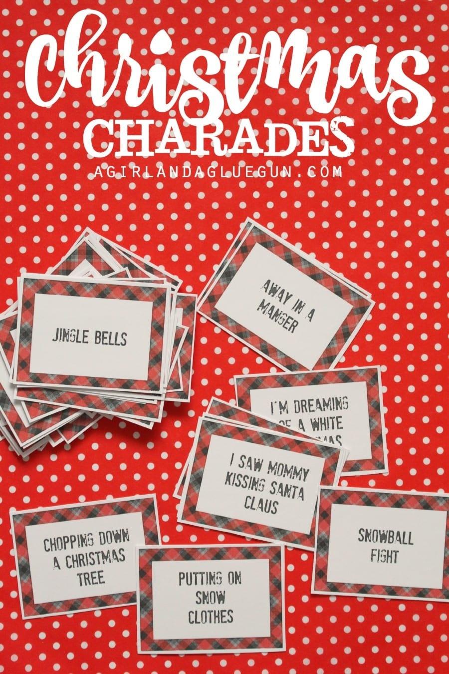 Christmas Charades Game And Free Printable Roundup! - A Girl And A - Free Printable Christmas Pictionary Cards