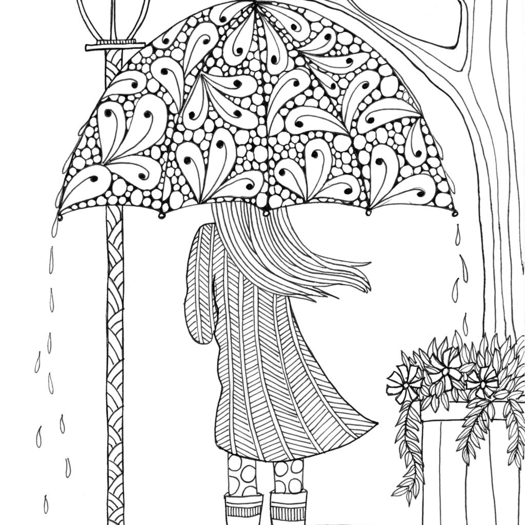 Coloring ~ Umbrellagirl Adult Coloring Books Nature Free Printable - Free Printable Nature Coloring Pages For Adults