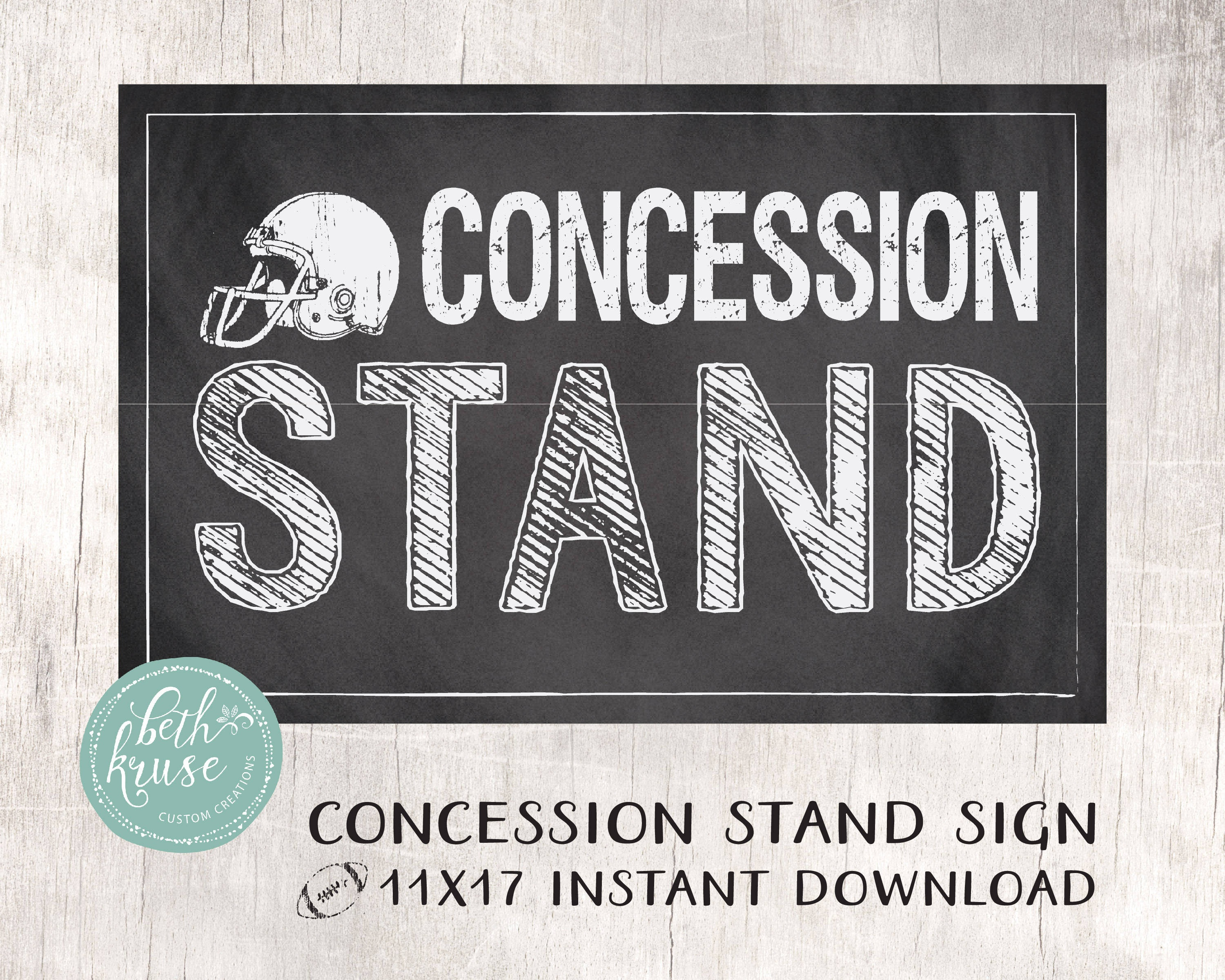 Concession Stand 11X17 Printable Sign Instant Download -- Chalkboard  Football Designbeth Kruse Custom Creations - Free Concessions Printable