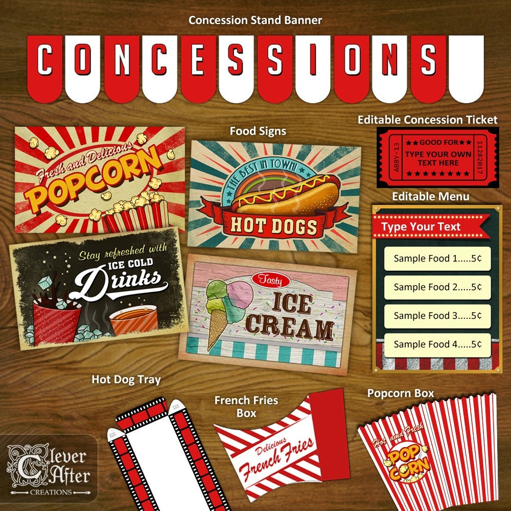 Concession Stand Printables Concessions Party Decorations Printable Kit  Banner Signs Popcorn Box Vintage Movie Theater Snack Bar Instant - Free Concessions Printable