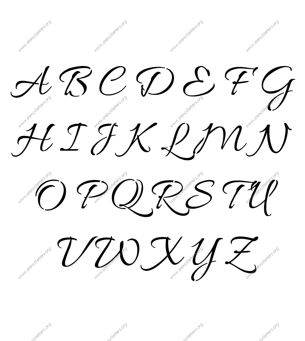 Connected Cursive Uppercase & Lowercase Letter Stencils A-Z 1/4 To - Free Printable Calligraphy Letter Stencils
