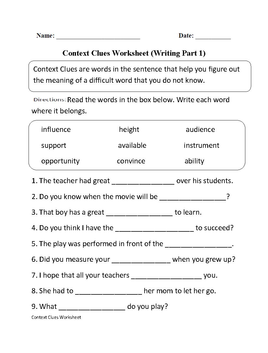 Context Clues Worksheet Writing Part 1 Intermediate   Ela   Context - Free Printable 5Th Grade Context Clues Worksheets