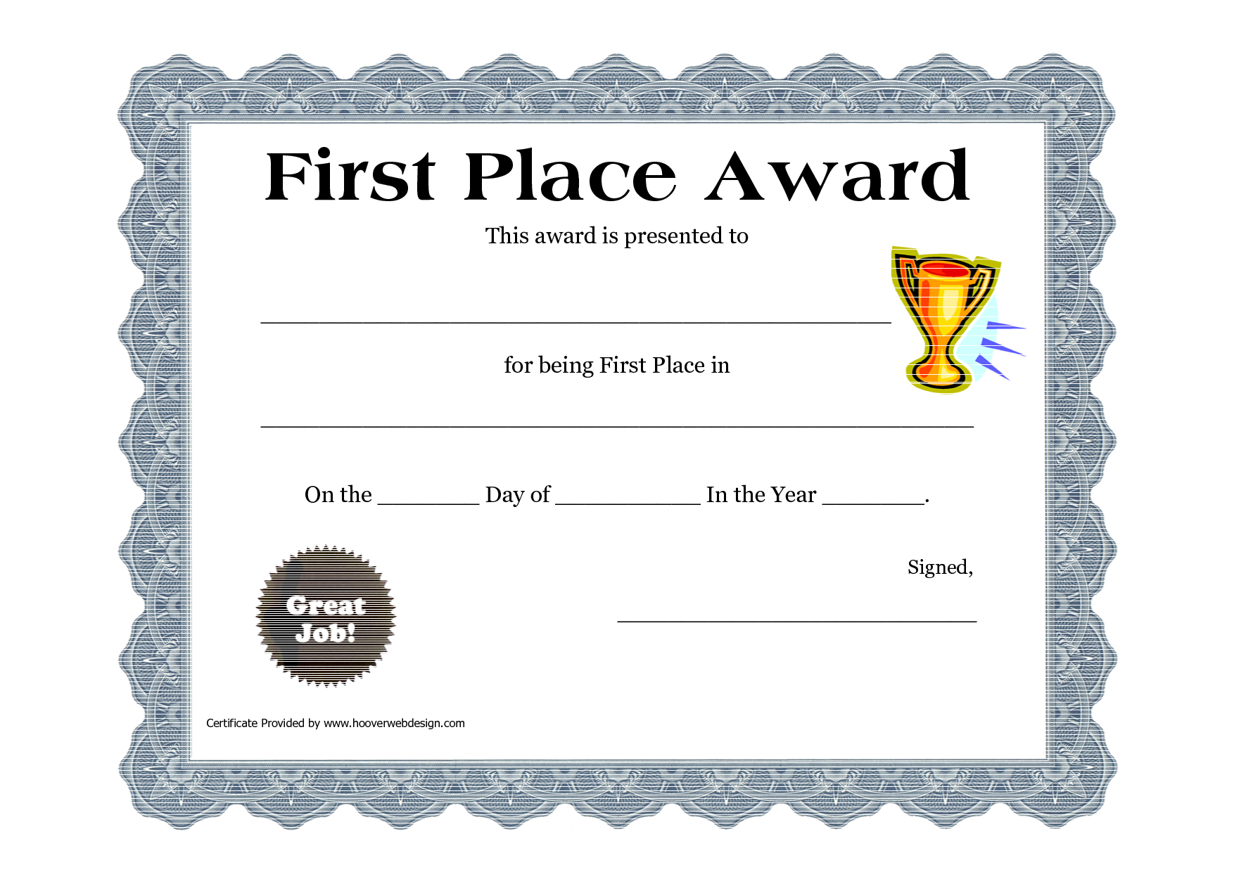 Customizable Printable Certificates   First Place Award Printable - Free Printable Halloween Award Certificates