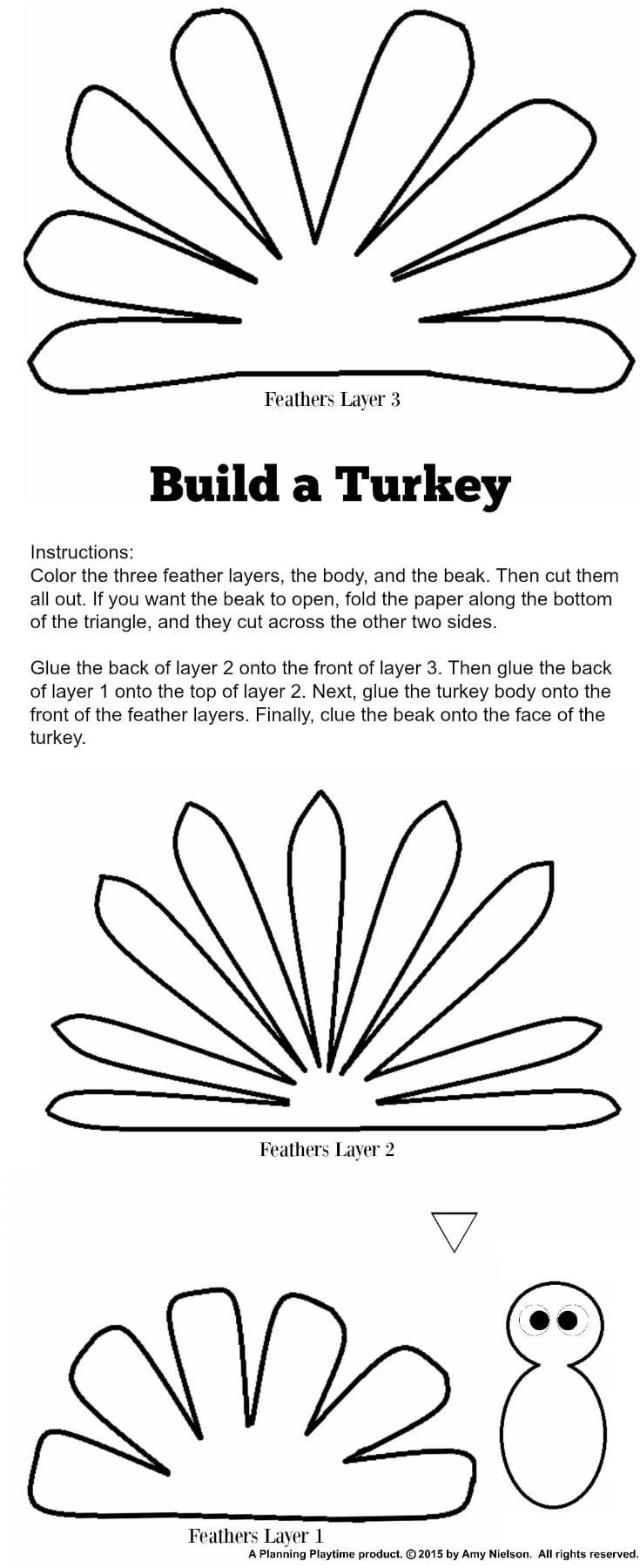 Cute Turkey Craft W/ Free Printable Template - Planning Playtime - Free Turkey Cut Out Printable