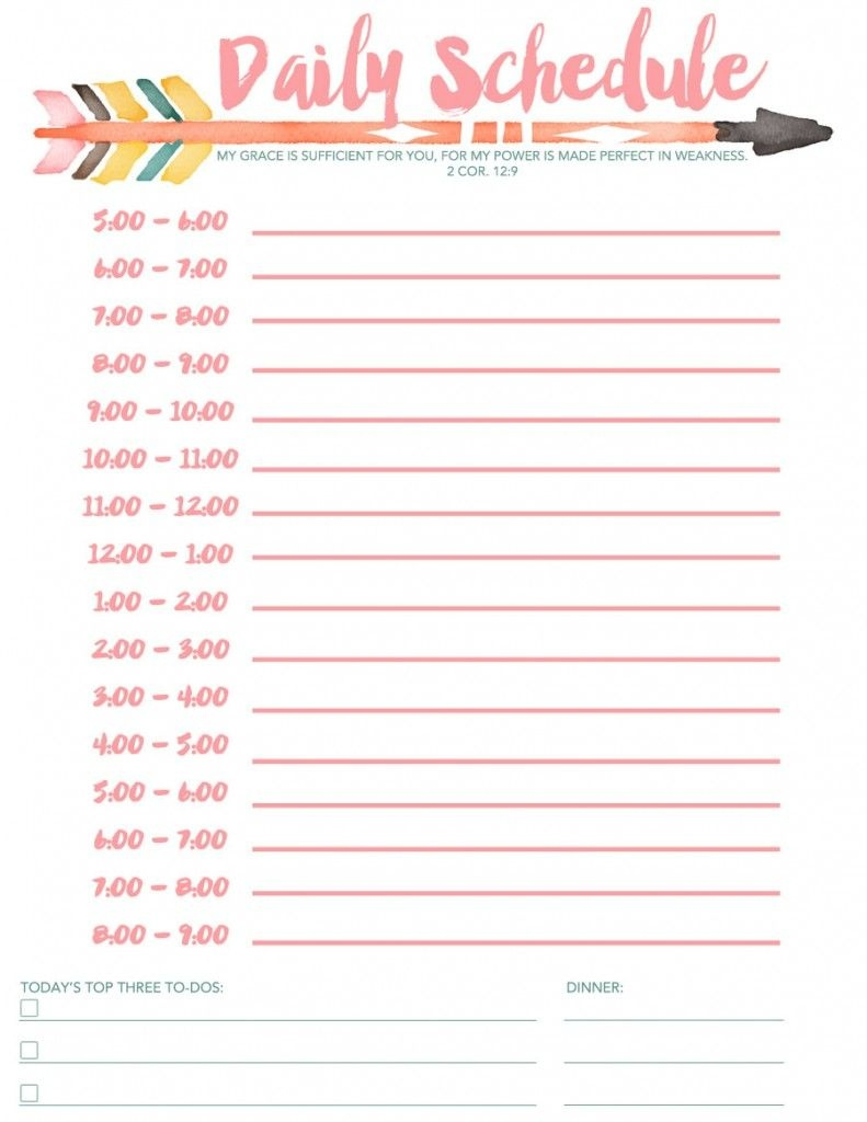Daily Schedule Free Printable   Planners & Bullet Journals   Daily - Free Printable Schedule