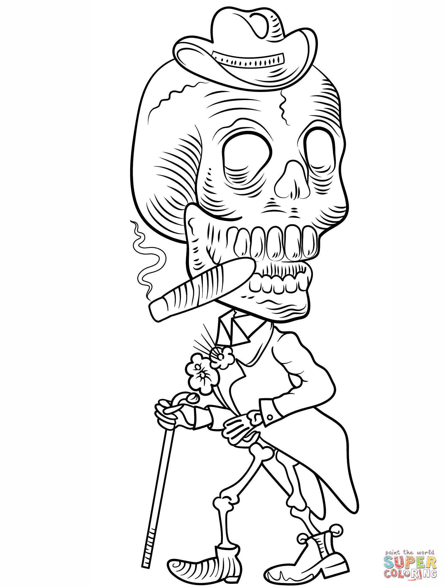 Day Of The Dead Skeleton Coloring Page   Free Printable Coloring Pages - Free Printable Skeleton Coloring Pages