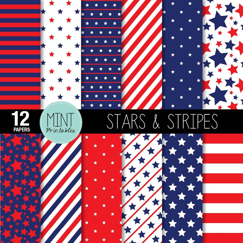 Digital Paper Stars And Stripes Scrapbooking Papers   Etsy - Free Printable Patriotic Scrapbook Paper