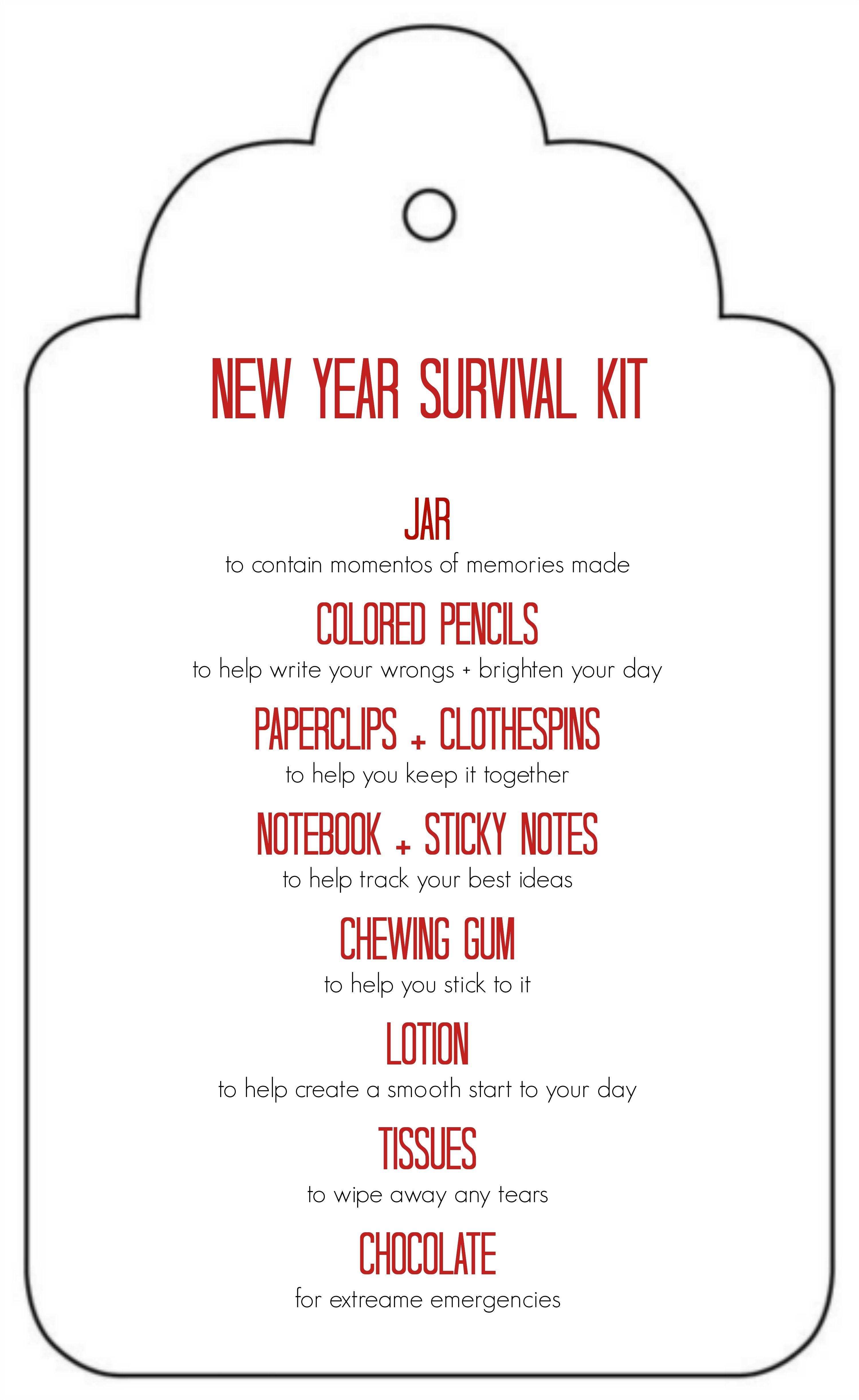 Diy New Years Survival Kit | Gifted | Survival Kit For Teachers - Teacher Survival Kit Free Printable