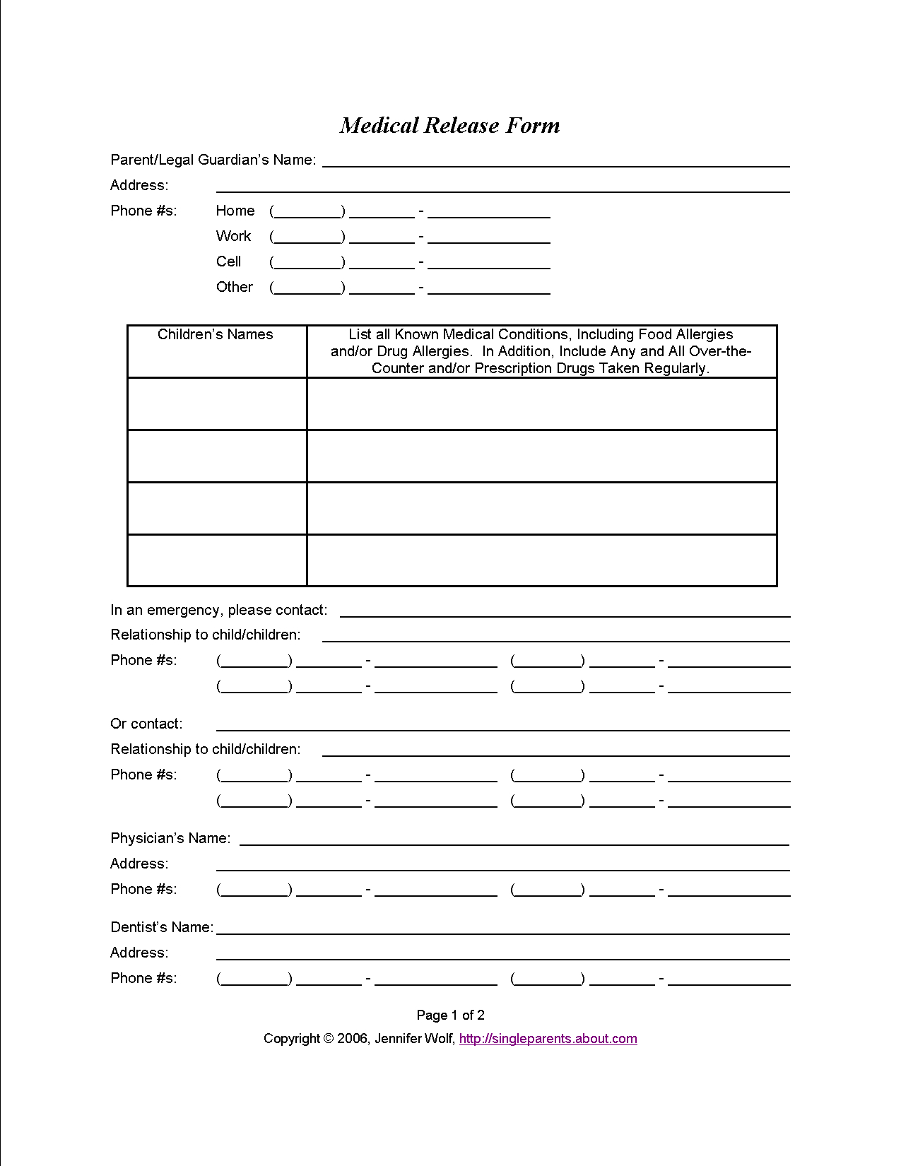 Do You Have A Medical Release Form For Your Kids?   Travel   Medical - Free Printable Medical Forms Kit