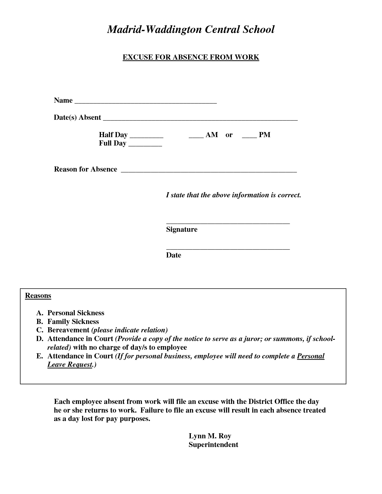 Doctors Excuse For Work Template   Excuse For Absence From Work - Free Printable Doctors Excuse
