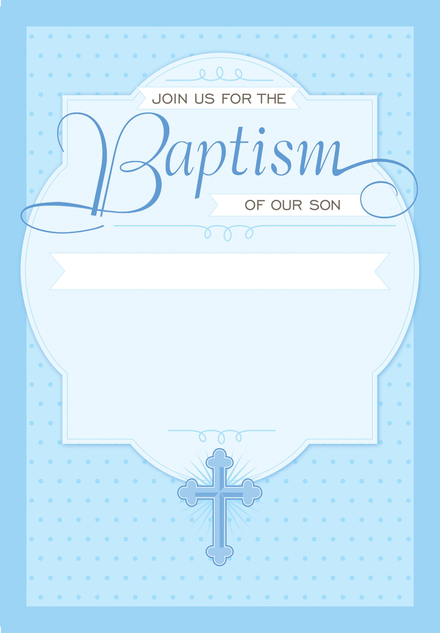 Dotted Blue - Free Printable Baptism & Christening Invitation - Free Printable Personalized Baptism Invitations