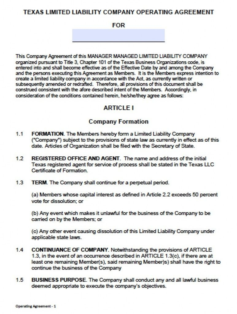 Download Texas Llc Operating Agreement Template - Llc Partnership - Free Printable Home Improvement Contracts