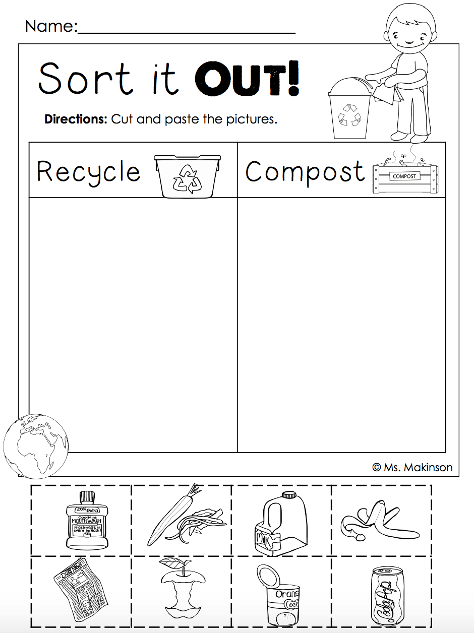 Earth Day Free | Homeschool. | Earth Day, Earth Day Activities - Free Printable Recycling Worksheets