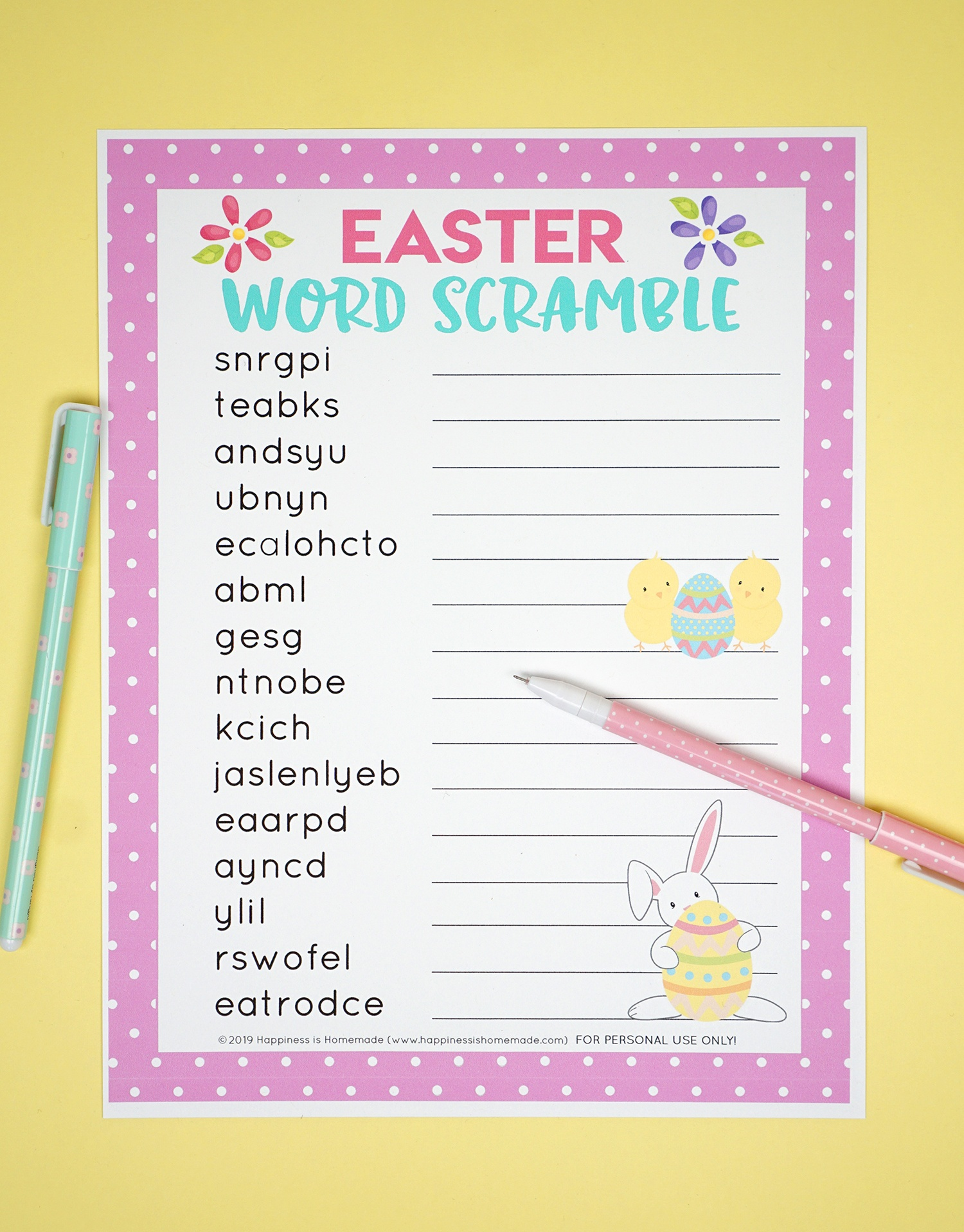 Easter Word Scramble Printable - Happiness Is Homemade - Unscramble Word Games Printable Free