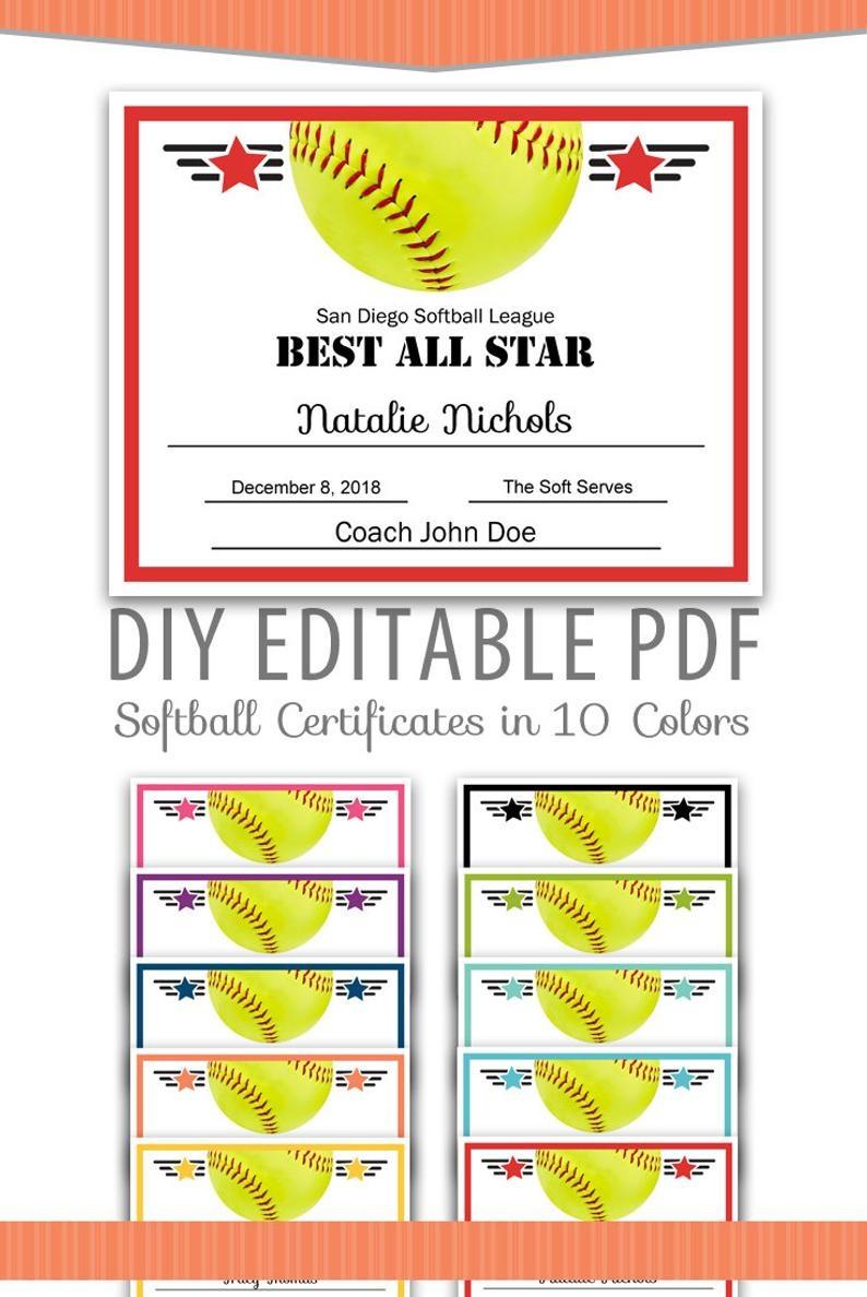 Editable Pdf Sports Team Softball Certificate Award Template | Etsy - Free Printable Softball Award Certificates