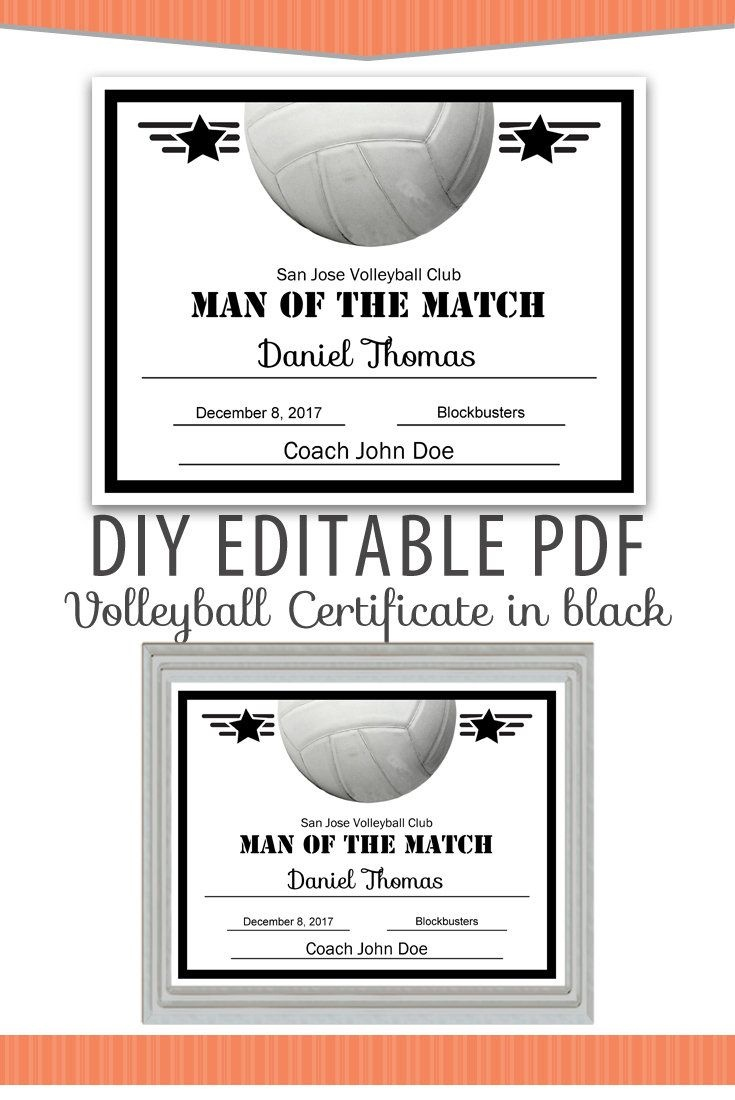 Editable Pdf Sports Team Volleyball Certificate Diy Award Template - Free Printable Softball Award Certificates
