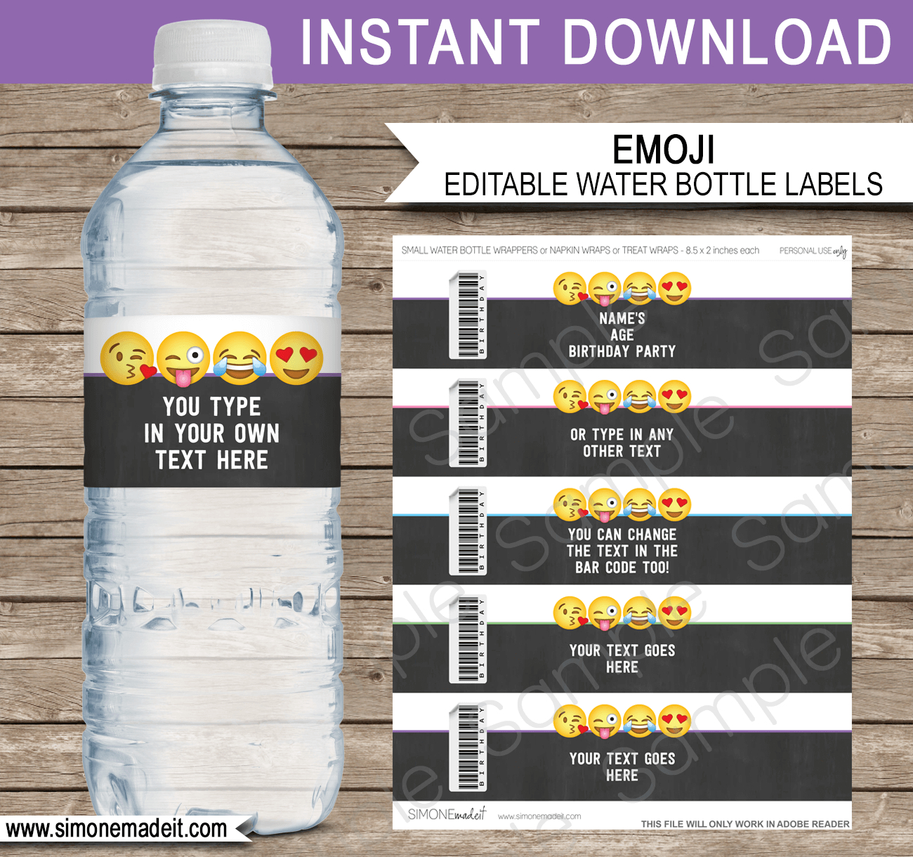 Emoji Water Bottle Labels Template   Emoji Theme Decorations - Free Printable Water Bottle Labels For Birthday