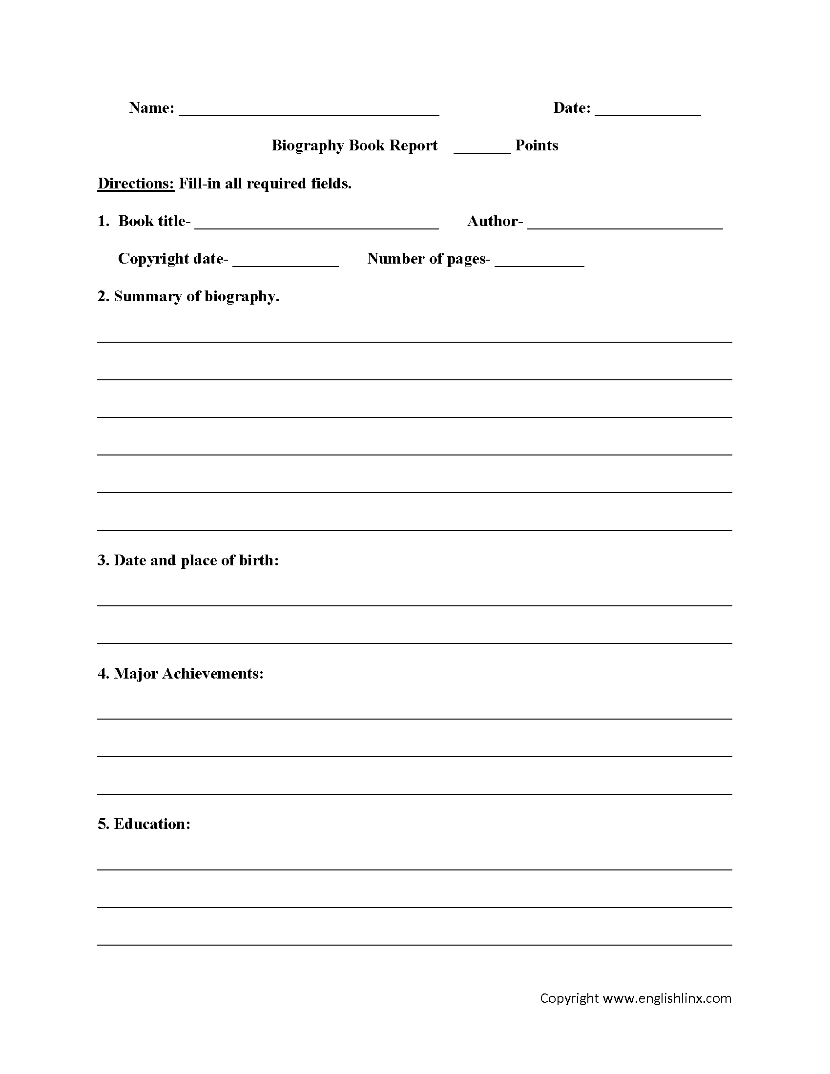 Englishlinx | Book Report Worksheets - Free Printable Stories For 4Th Graders