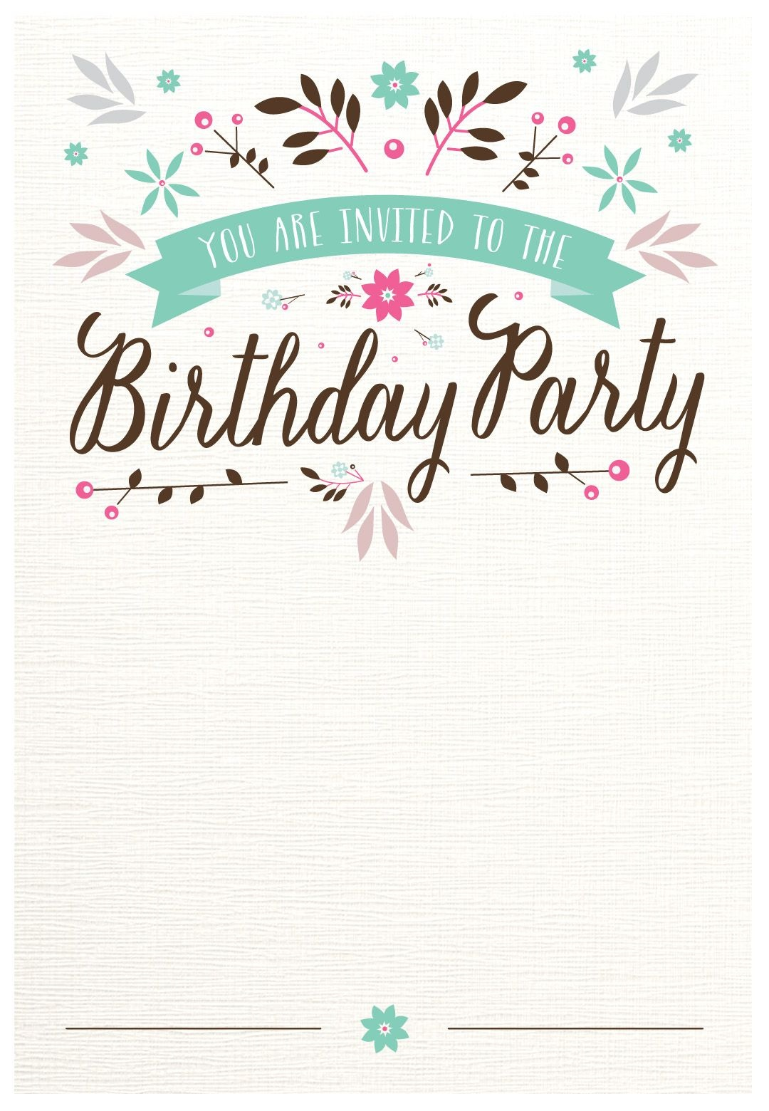 Flat Floral - Free Printable Birthday Invitation Template - Free Printable Event Invitations