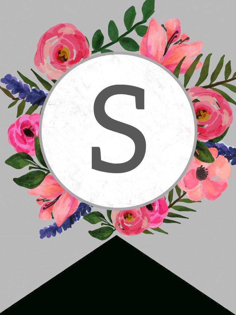 Floral Alphabet Banner Letters Free Printable   Banner   Banner - Free Printable Flower Letters