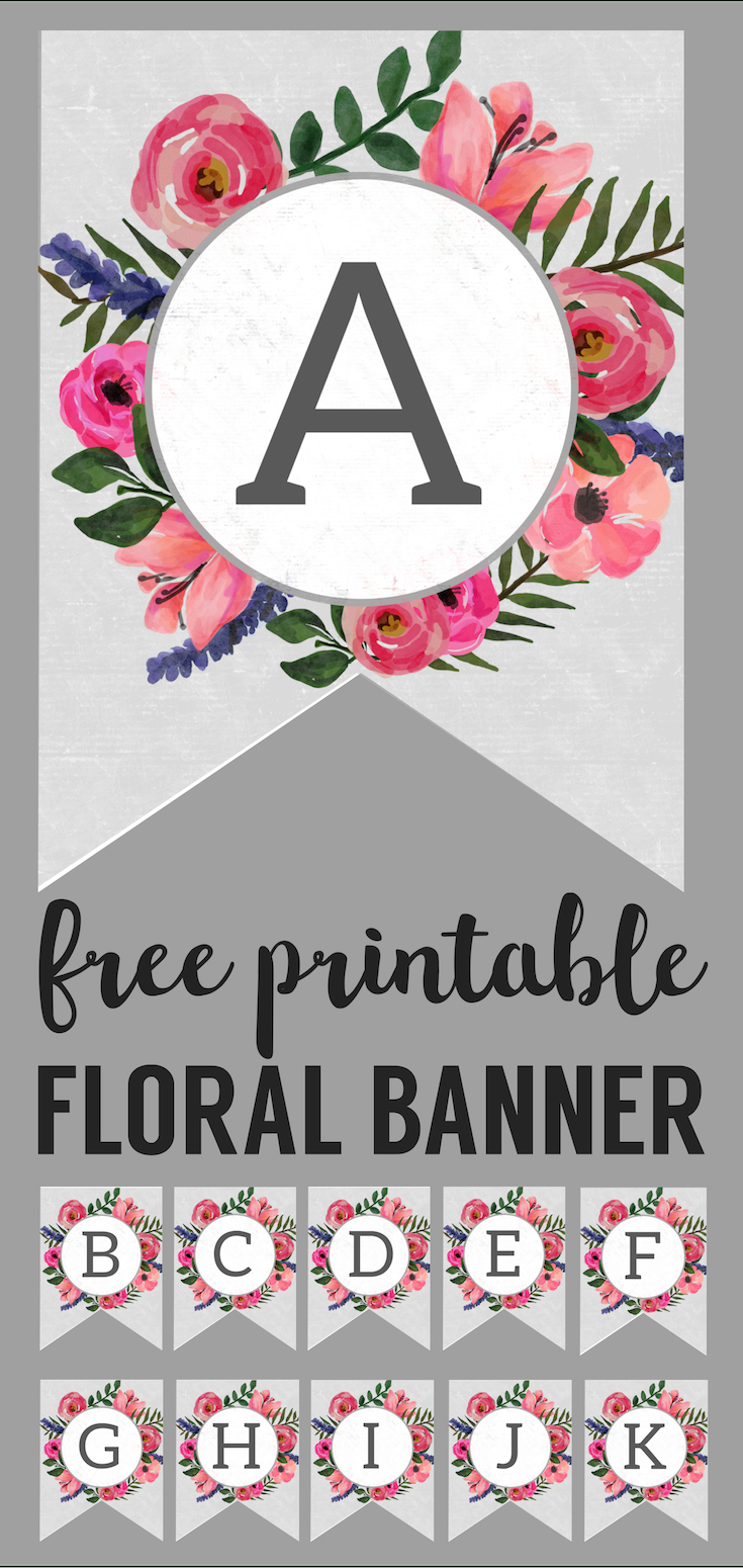 Floral Alphabet Banner Letters Free Printable   Printable Tags - Free Printable Flower Letters